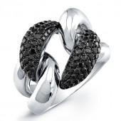 18k White Gold Black Diamond Cuban Link Ring