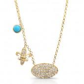 14k Yellow Gold Pave Diamond Disk Fleur De Lys Turquoise Necklace
