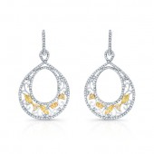 14k White and Yellow Gold Circle Earrings with Fancy Yellow and White Diamonds