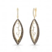 14k Yellow Gold Brown and White Diamond Earrings