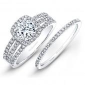 14k White Gold White Diamond Halo Bridal Set