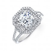 14k White Gold Double Square Diamond Halo Engagement Ring