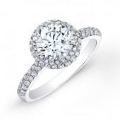 14k White Gold Vintage Diamond Halo Engagement Ring