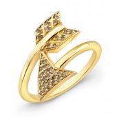 14k Yellow Gold Champagne Diamond Arrow Ring