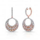 18k Rose Gold Brown Diamond Circle Drop Earrings