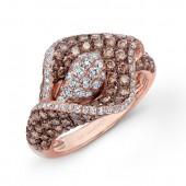 18k Rose and Black Gold Flower Ring