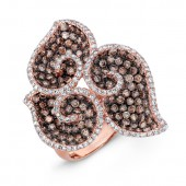 18k Rose and Black Gold Brown Diamond Fashion Ring