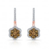 18k Rose and Black Gold Brown Diamond Flower Earrings