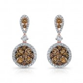 18k Rose and Black Gold Brown Diamond Circle White Diamond Halo Drop Earrings