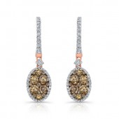 18k Rose and Black Gold Brown Diamond Oval Drop Earrings