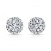 14k White Gold White Diamond Circle Stud Earrings