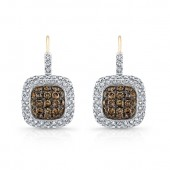 14k Yellow and Black Gold Brown Diamond Square Earrings