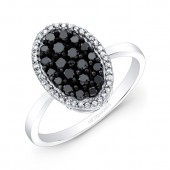 14k Black and White Gold Black Diamond Oval Ring