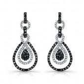 14k White and Black Gold Black and White Diamond Modern Drop Earrings