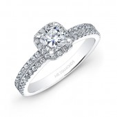 18k White Gold Square Diamond Halo Engagement Ring