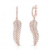 14k Rose Gold White Diamond Feather Drop Earrings