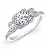 14k White Gold White Diamond Square Halo Diamond Side Stone Engagement Ring