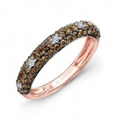 14k Rose and Black Gold White Diamond Dotted Brown Diamond Band