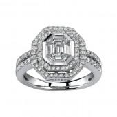 14k White Gold Split Shank Diamond Mosaic Center Ring