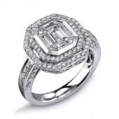 14k White Gold Diamond Pave Ring