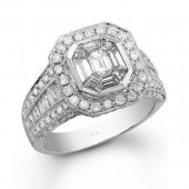 14k White Gold Vintage Detail Emerald Star Diamond Mosaic Ring
