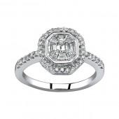 14k White Gold Emerald Cut Center Diamond Ring