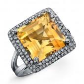 Black Sterling Silver Citrine Diamond Split Shank Ring