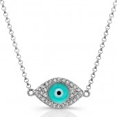 14k White Gold Diamond Light Blue Enamel Evil Eye Chain Necklace