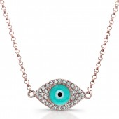 14k Rose Gold Diamond Light Blue Enamel Evil Eye Chain Necklace
