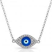 14k White Gold Diamond Dark Blue Enamel Evil Eye Chain Necklace