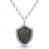 14k White Gold Pave Brown Diamond Shield Pendant