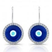 14k White Gold Enamel Evil Eye Diamond Earrings