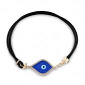 14k Yellow Gold Dark Blue Enamel Diamond Evil Eye Bracelet
