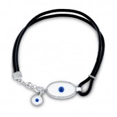 14k White Gold Evil Eye Diamond Bracelet