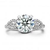 14k White Gold Three Stone Diamond Engagement Ring Semi Mount