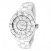 Rougois Women's High Tech White Ceramic Watch with Genuine Diamonds