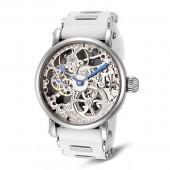 Rougois Mechanique Silver Tone Skeleton Watch White Silicone Band