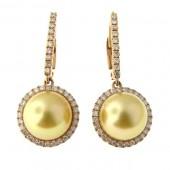 Golden Pearl & Diamond Earrings