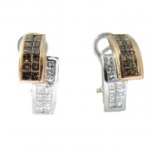 Toffee Brown and White Diamond Earrings