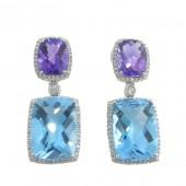 Amethyst, Blue Topaz & Diamond Earrings