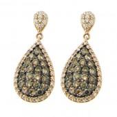 Fancy Brown & White Diamond Earrings