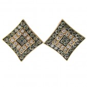 Fancy Brown & White Diamond Studs