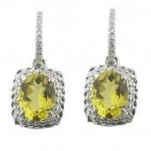 Yellow Emerald & Diamond Earrings