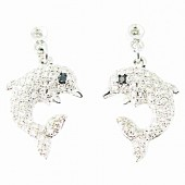 Diamond Dolphin Drop Earrings