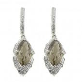 Smoky Topaz & Diamond Earring