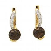 Smoky Topaz & Diamond Earrings