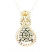 Champaign & White Diamond Pendant