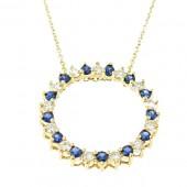 Sapphire & Diamond Circle Of Life Pendant