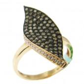 Toffee Brown & White Diamond Ring