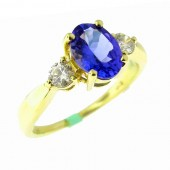 Three Stone Tanzanite & Diamond Ring